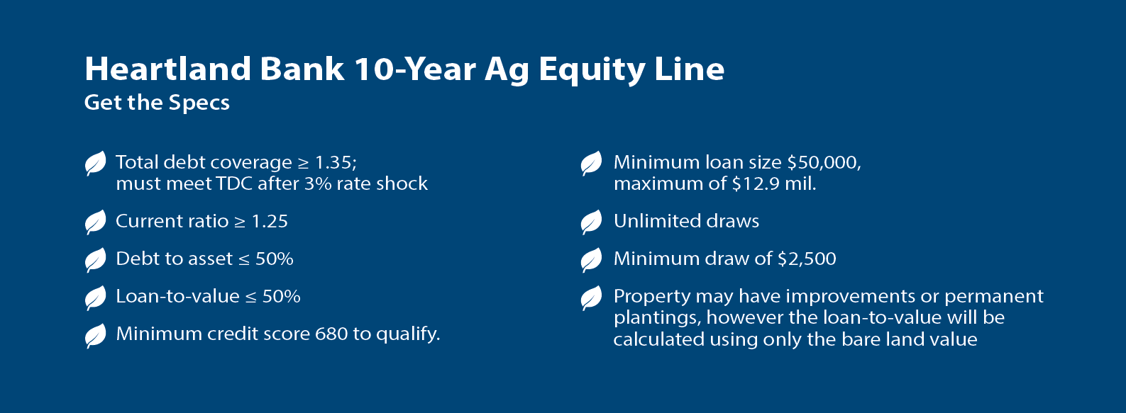 10 Year Ag Equity Line-Get the specs- talk to our Ag team today!
