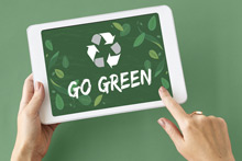 Image of Tablet with a Go Green graphic being displayed